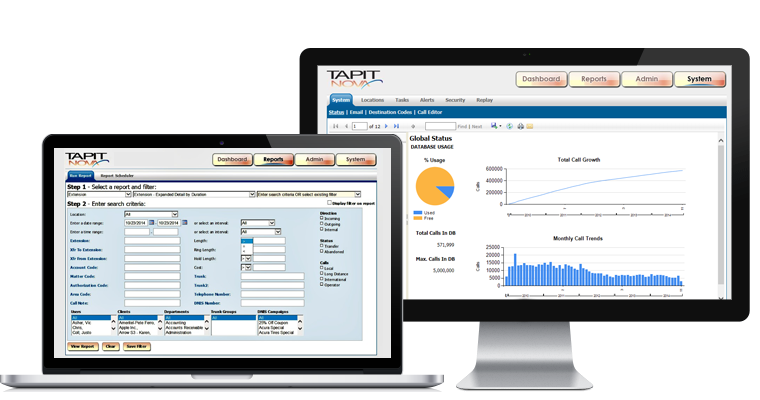 Tapit NOVA Call Accounting on laptop and desktop